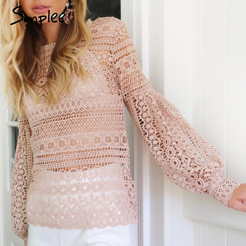 Simplee Pink Lace Blouse Shirt Women Top Casual Hollow Out Lantern Sleeve Sexy Blusas Autumn Elegant Geometry Cool Blouse 2018