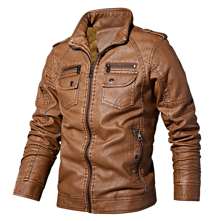 New Men Autumn Winter PU Jacket Fashion Solid Color Slim Fits Leather Jackets Male Casual Coat Brand Clothing J6T760