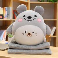Funzionale 3 in 1 cuscino coperta 40 centimetri morbido peluche pulcino maiale orso koala animale cuscino cuscino con 170*90 centimetri coperta di flanella