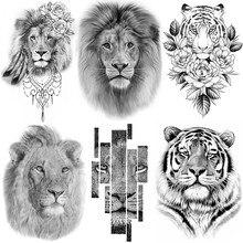 Тату Mighty Lion Король животных временные мужские женские боди-арт мужские боди искусственная Татуировка реалистичные племенные Тигры искусст...