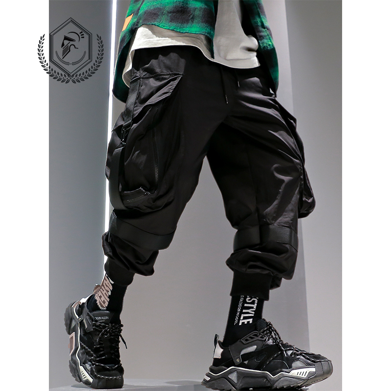 Men Fashion Ankle-Length Safari Style Loose Jogger Pants Casual Hip Hop Pants