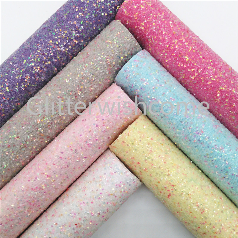 Glitterwishcome 21X29CM A4 Size Glitter Fabric, Chunky Glitter Leather, Faux PU Leather Fabric Vinyl For Bows, GM530A