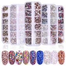 AB – ensemble de 12 boîtes de pierres précieuses, cristal d'été, strass, diamant, événement, vacances, paillettes 3D, décoration Nail Art, beauté