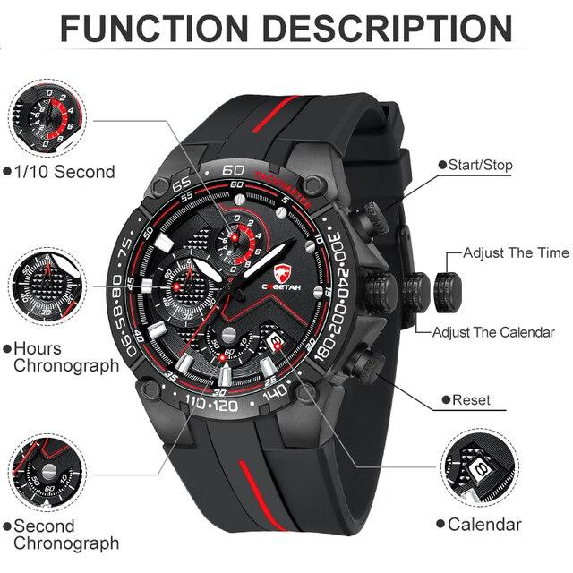 Top Brand CHEETAH Men Watch Casual Business Wristwatch Fashion Luxury Silicone Strap Sports Waterproof Clock Relogio Masculino 5