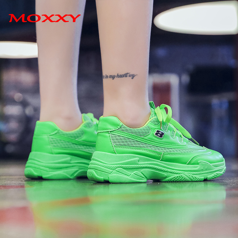 Designer Chunky Sneakers Women Shoes Sneakers 2019 Fashion Yellow Green Platform Dad Sneakers trainers Basket chaussures femme in Women 39 s Vulcanize Shoes from Shoes
