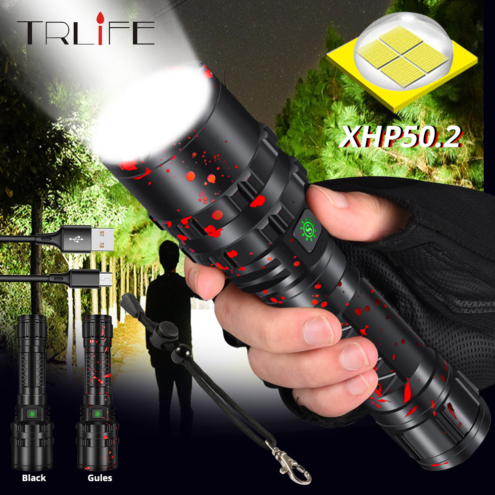 Powerful XHP50.2 LED Flashlight Xlamp Aluminum Hunting L2 Waterproof 5Modes Torch Light Lanterna By 18650 26650 Battery For Hunt