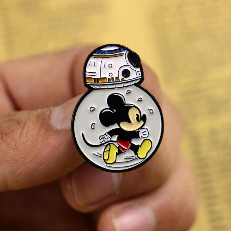 Star Wars BB8 Robot Bros dan Enamel Pin Wanita Pria Anak Tas Ransel Lencana Kerah Pin