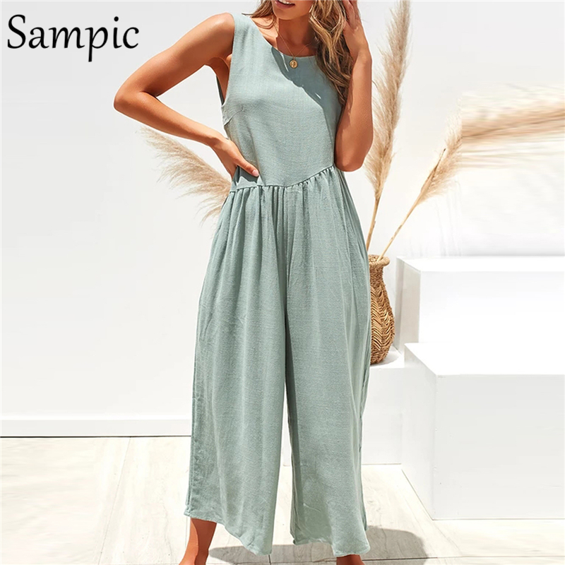 Sampic Casual Backless Sexy Solid Femme Strap Loose Rompers O Neck Jumpsuit Women Summer White Playsuit Trousers Overalls