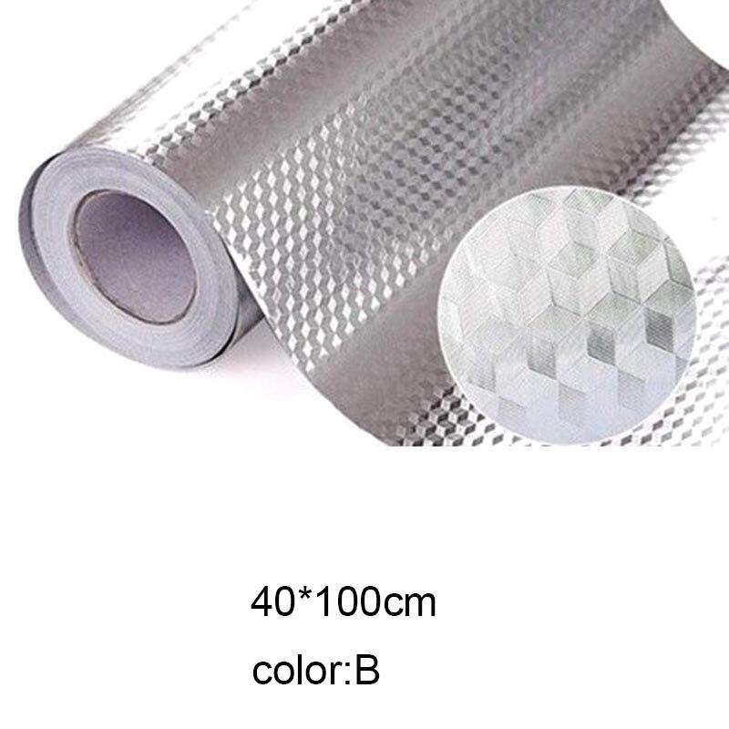 Многофункциональная Настенная Наклейка для кухни из алюминиевой фольги, водонепроницаемая Съемная самоклеящаяся маслостойкая Настенная Наклейка LXY9 ST05 - Цвет: B  40 x 100CM