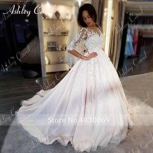 Image 5 - Ashley Carol Chữ A Áo Cưới 2020 Dài Tay Công Chúa Cô Dâu Đầm Lãng Mạn Muỗng 3D Chiếu Trúc Hạt Hoa Vintage Áo Dài Cô Dâu