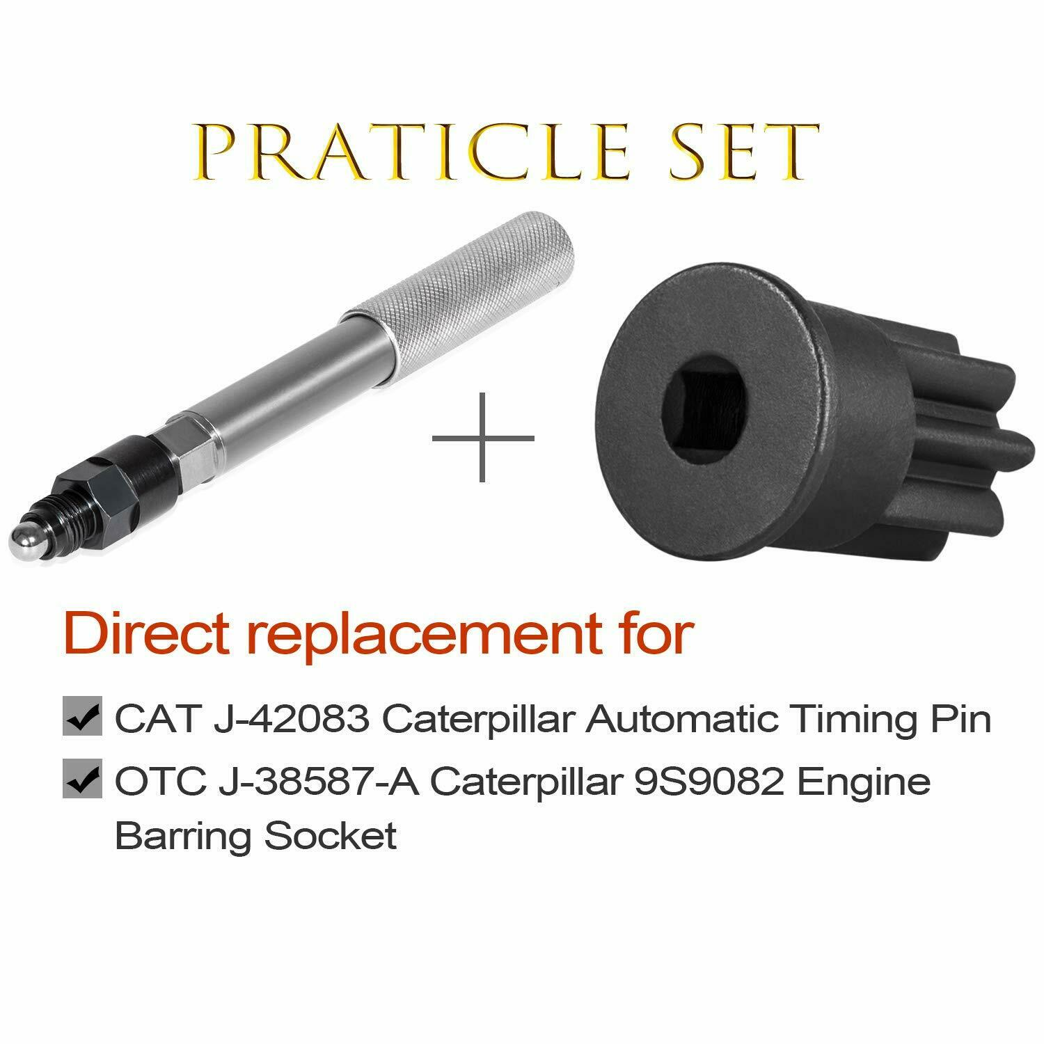 Sporthfish Automatic Timing Pin with Adapter Replace J-42083 and Engine Barring Socket Replace J-38587-A for Caterpillar 3200 3400 3500 Series CAT Engines C13 C15 C-16 3512C