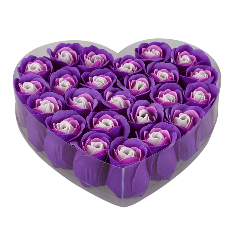 24 Pcs Purple Scented Bath Soap Rose Petal In Heart Box