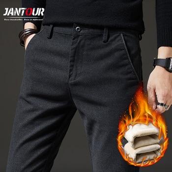 Pants Men Winter Fleece Casual Pants Men's 2020 New Business Fashion Stretch Warm Velvet Black Gray Blue Trousers Big Size 28-38 1