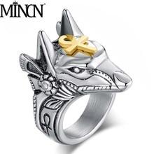 MINCN Mens Ring Retro Anubis God Self-defense Body Protection Broken Window Titanium Steel Death Coyote Head
