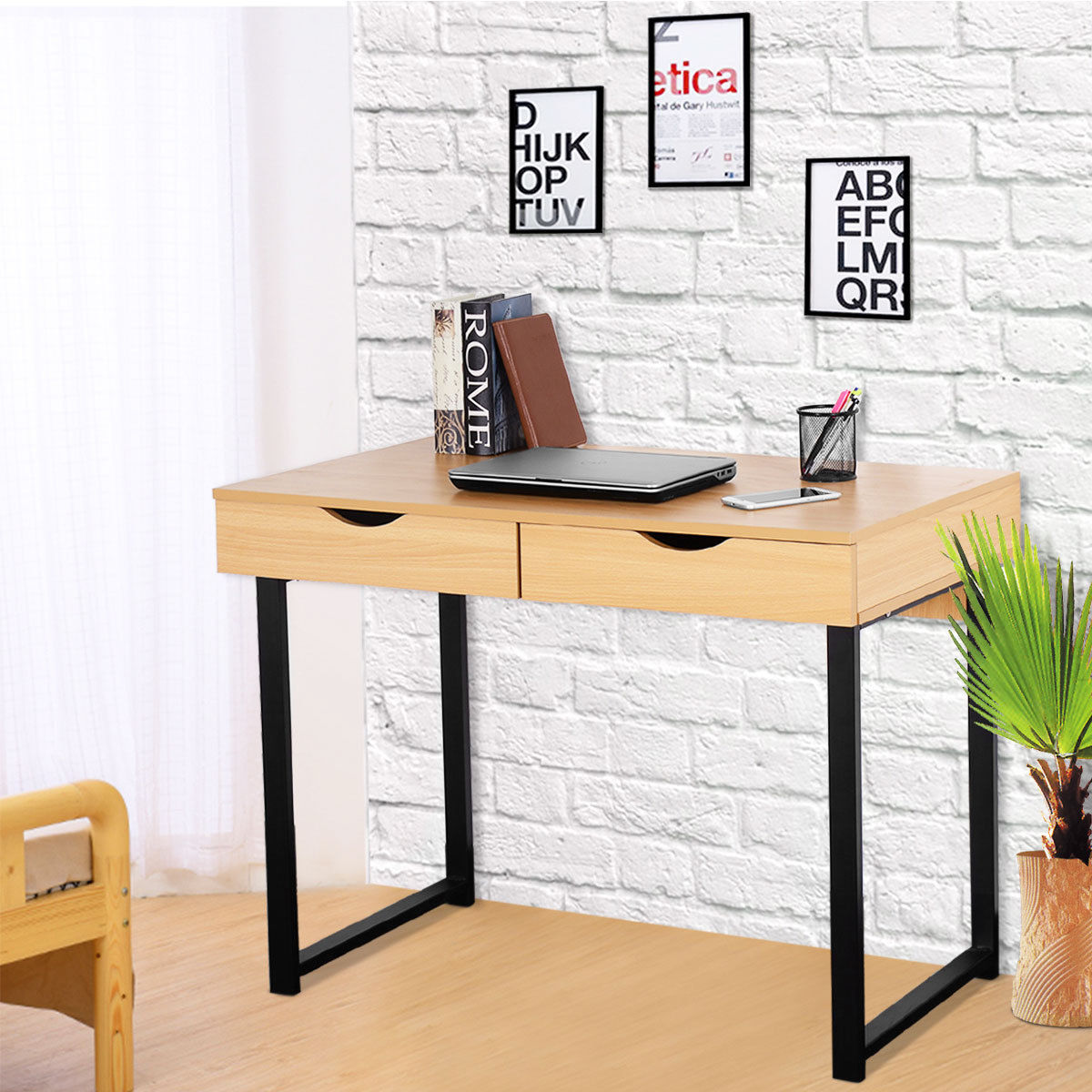 Costway Modern Computer Desk Workstation Table Steel Frame Home Office With 2 Drawers