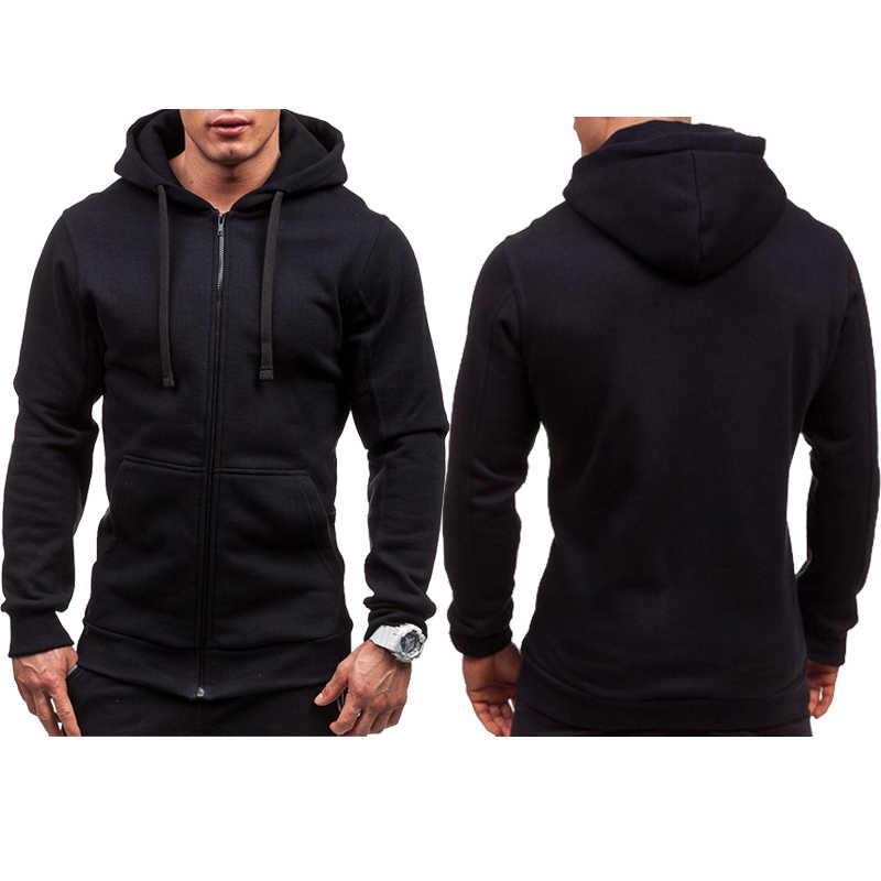 Fashion Streetwear Mannen Effen Kleur Zip Up Hoodie Klassieke Winter Hooded Sweater Jas Top Nieuwe Plu Size L-3XL
