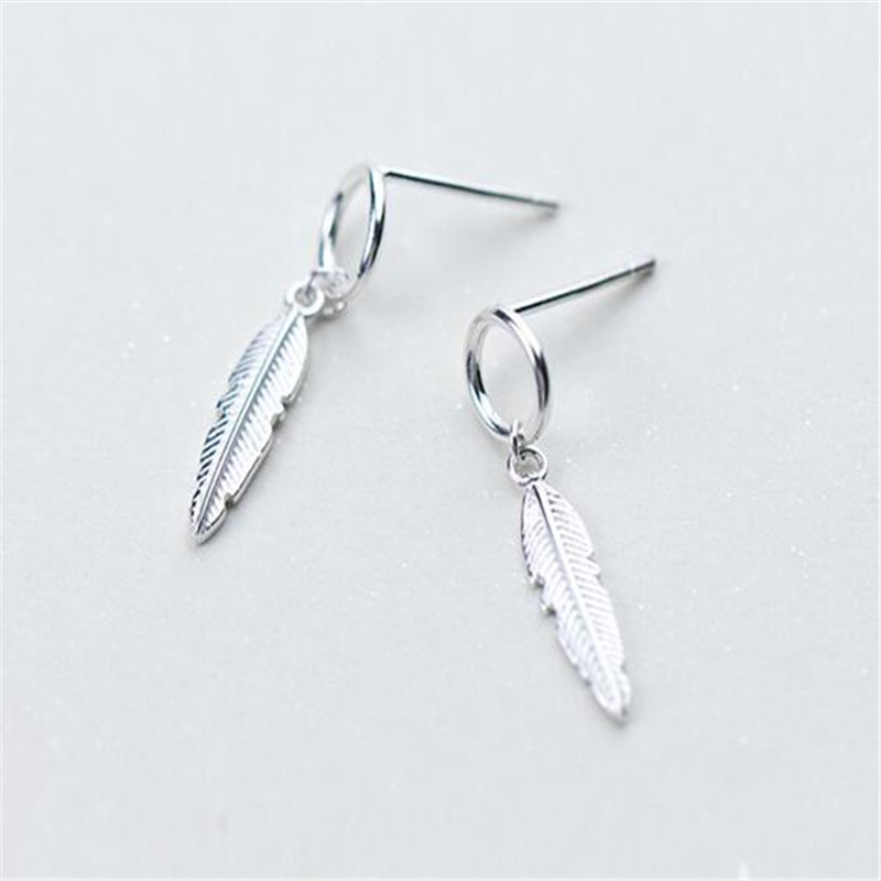925 Sterling Silver Round Feather Drop Earrings for Women Wedding Sterling Silver Jewelry Bijoux eh1420