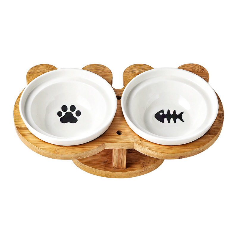 New Amboo Wood Ceramics Cat Bowl Pet Supplies Double Bowls Food Water Bowl Protection Spine High Foot Oblique Pet Feeder