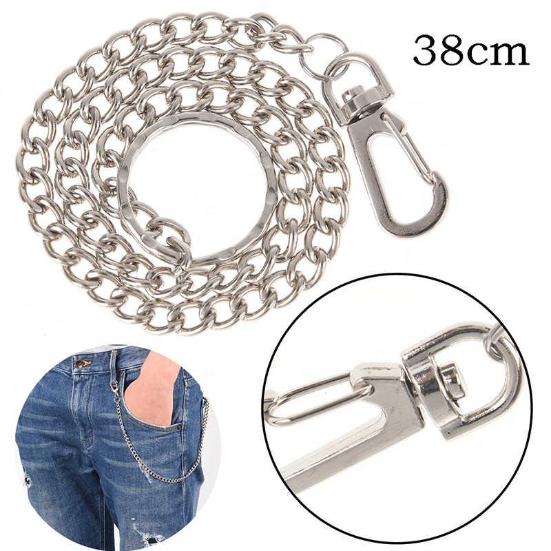 Długie metalowe pasek portfela łańcuch Rock spodnie punkowe hipsterskie spodnie Jean srebrny zacisk okrągły brelok męska odzież hip hopowa akcesoria 38cm
