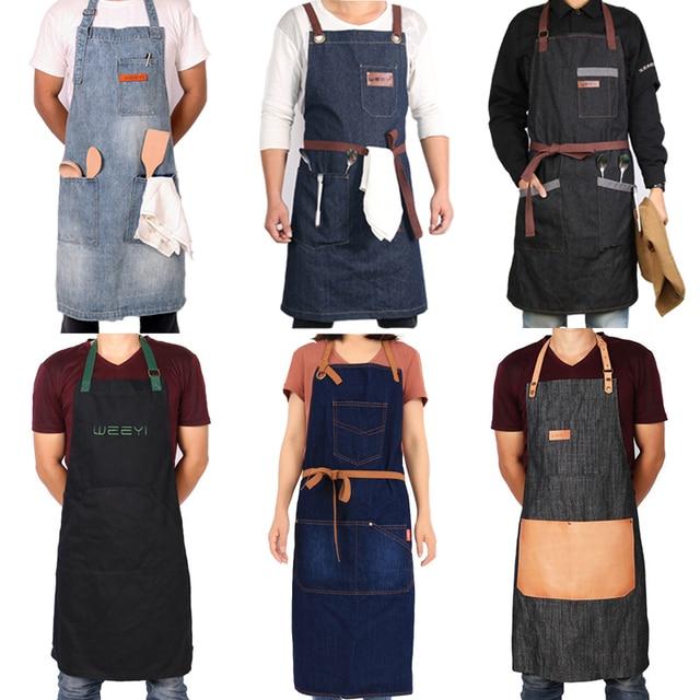 WEEYI Kitchen Restaurant Work Denim Apron Cowboy Chef Cooking Kitchen Apron For Woman Men Cafe Shop BBQ Hairdresser delantal