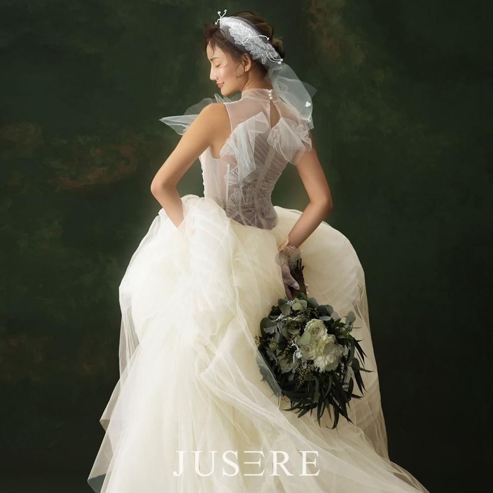 JUSERE  Ivory Wedding Dress A-Line Sleeveless  Vestido De Noiva Illusion Bridal Gowns Hauta Couture2019