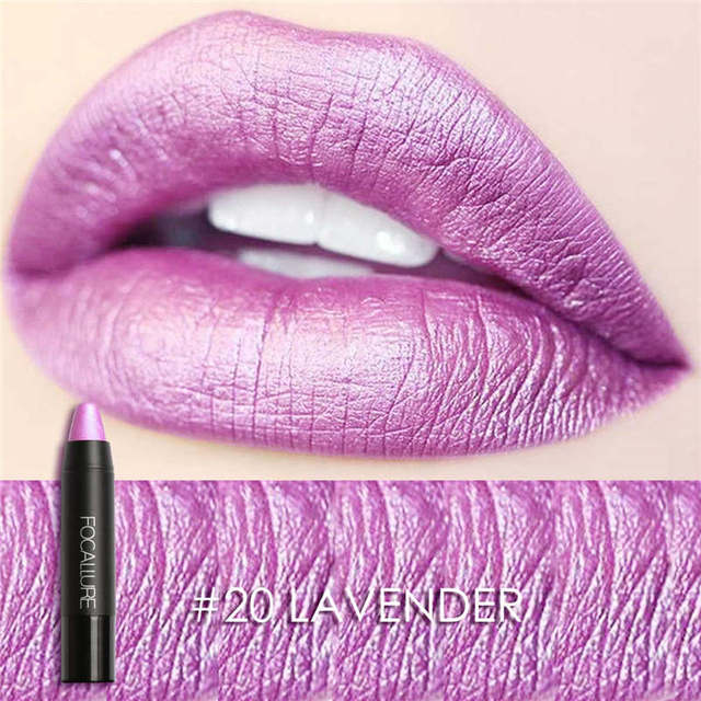 FOCALLURE Makeup Colorful Waterproof Shimmer Lipstick Matte Lipstick Metal Style  Cosmetic