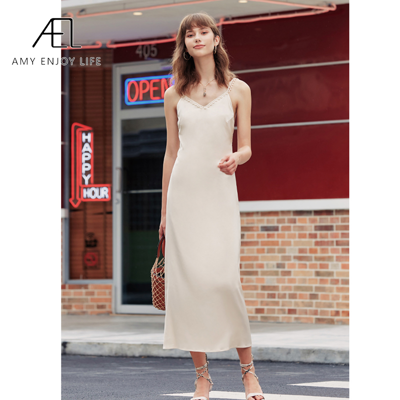 AEL <font><b>Sexy</b></font> Satin V Neck Maxi <font><b>Dress</b></font> <font><b>Women</b></font> <font><b>Spaghetti</b></font> <font><b>Strap</b></font> Sleeveless <font><b>Backless</b></font> <font><b>lace</b></font> Long <font><b>Dresses</b></font> 2020 summer Lady Vestido image