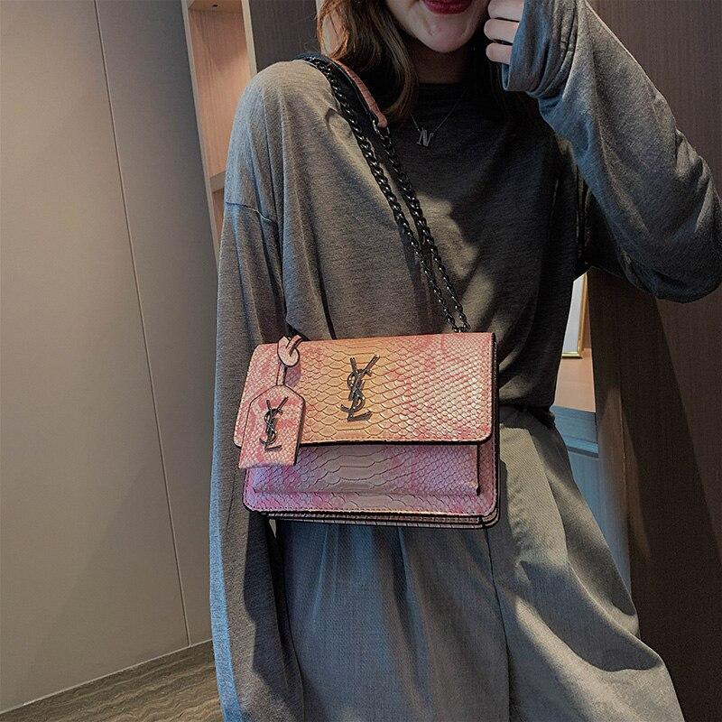 2020 New Ladies Fashion Crocodile Pattern Small Square Bag Chain Shoulder Bag Simple Fashion Messenger Bag