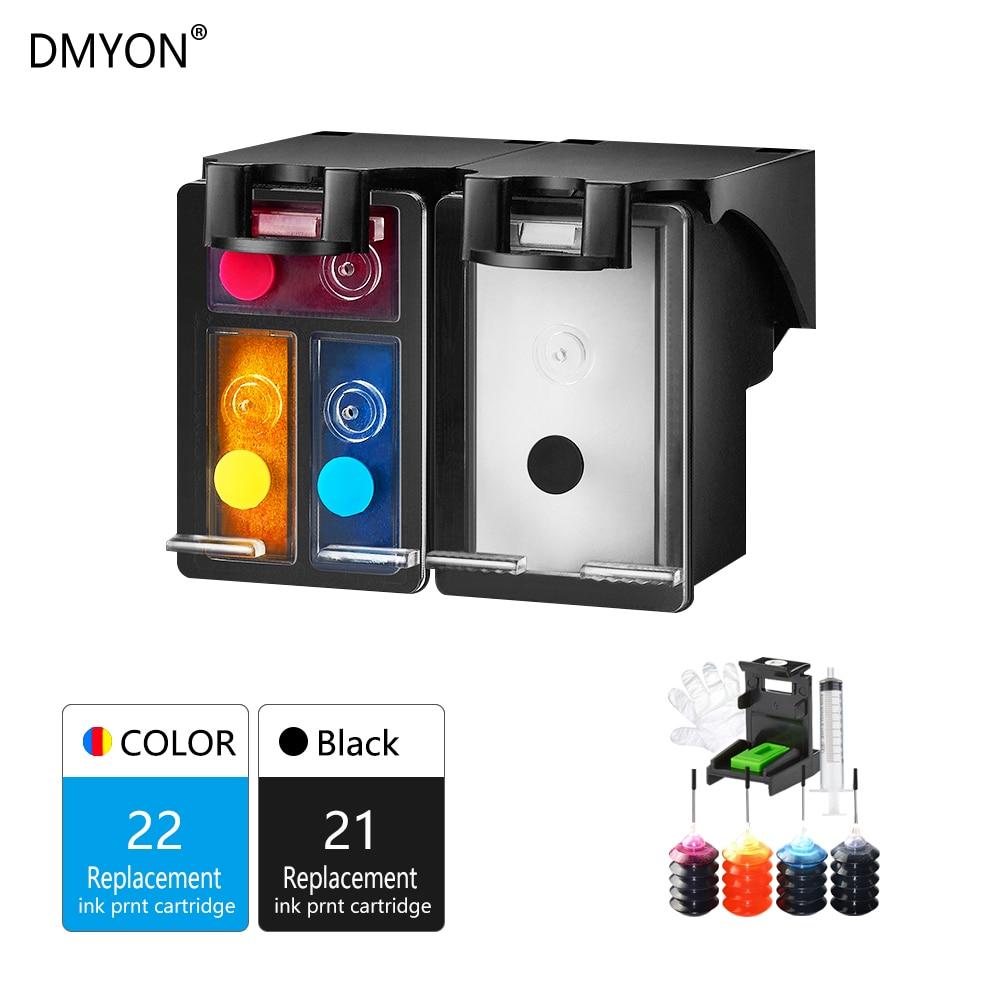 DMYON 21XL 22XL Refill Ink Cartridge For Hp 21 22 Printer Deskjet F2180 F2200 F2280 F4180 F300 F380 380 D2300 Printer Cartridges