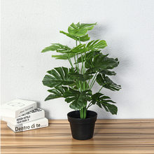 Plastic Green Monstera Tree Artificial Plants For Home Decor Fake Greenery Tropical Palm Small Plant Garden Decoration