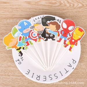 Image 4 - Acessórios de decoração de bolo 12 pçs/lote, super herói/princesa cupcake brinquedo de festa de aniversário da menina