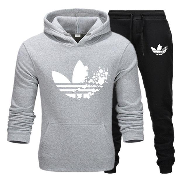 Sports Suit Men's Spring And Autumn Clothes Men's Sweater Hooded Running Casual Wear Tide Brand Mixed Cotton Sportswear Suit
