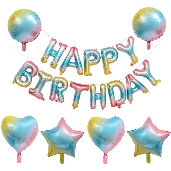 19 Pcs Gradient Balloons Decorations Happy Birthday Balloons Banner Foil Hearts Stars and Balls Shape Balloons for Girls and Boy