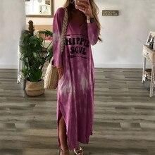 цена на Tie Dye Long Dress Women Hippie Soul Print O Neck Loose Casual Long Sleeve Shirt Maxi Dresses Plus Size Split Vintage Dresss