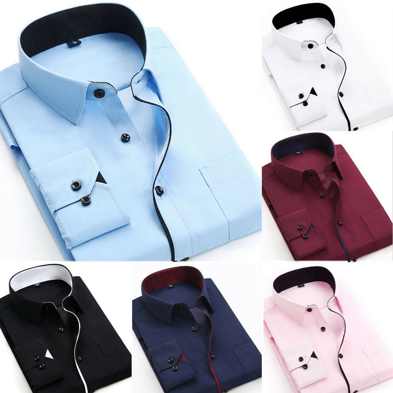 2020 Luxury Men's Fashion Casual Shirt Business Men Slim Long Sleeve Solid Color Formal