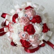 Romántico ramo de rosas artificiales para decoración de boda, púrpura, blanco, perlas de cristal, ramos de punto de seda W271