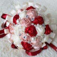 Romântico roxo branco fita casamento bouquet decorativo artificial rosa flores de cristal nupcial pérolas ponto seda bouquets w271