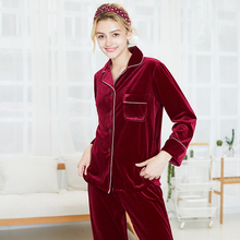 Autumn and winter velvet pajamas Womens new autumn long-sleeved two-piece suit lounge wear S051