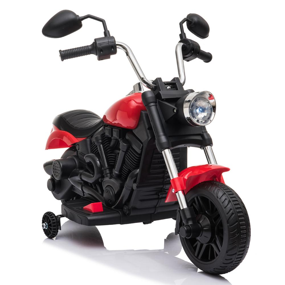 Red/Blue 6V Electric Motorcycle For Kids Electric Ride On Motorcycle With Training Wheels LED Front Headlight PK Electric Bike
