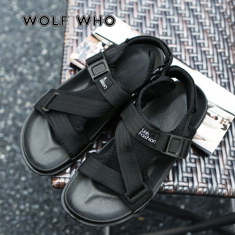 WOLF WHO 2019 New Fashion Summer Male Beach Shoes Breathable Men Sandals Lightweight Outdoor Men's Causal Shoes Chaussure A-008