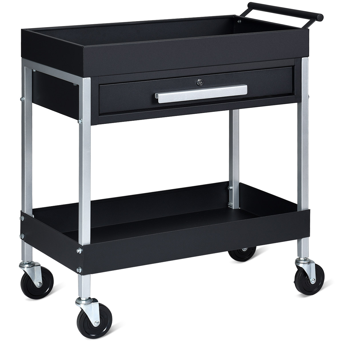 2 Shelf Tool Cart Utility Cart Service Cart Heavy Duty With Lock Drawer & Wheels