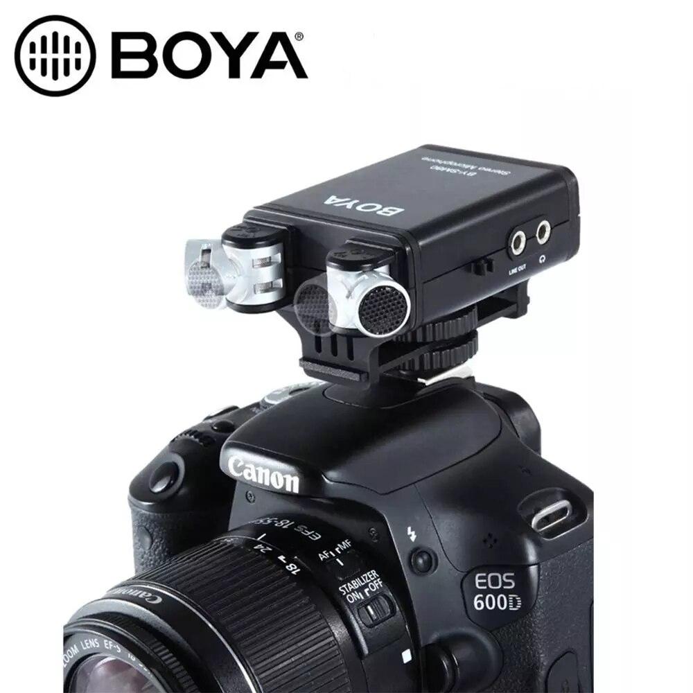 BOYA BY-SM80 PassFilter стерео Камера микрофон с функцией голоса в реальном времени мониторы для Nikon D800 D600 Canon 5D2 6D 750D видеокамера