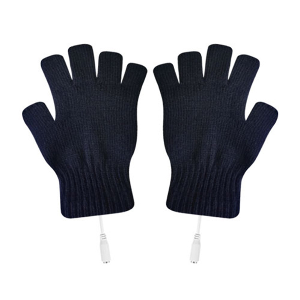2PCS Skiing Practical With Cover Winter Washable Knitting Mitten Warm Cycling Sports Outdoor Heating Gloves USB Connection