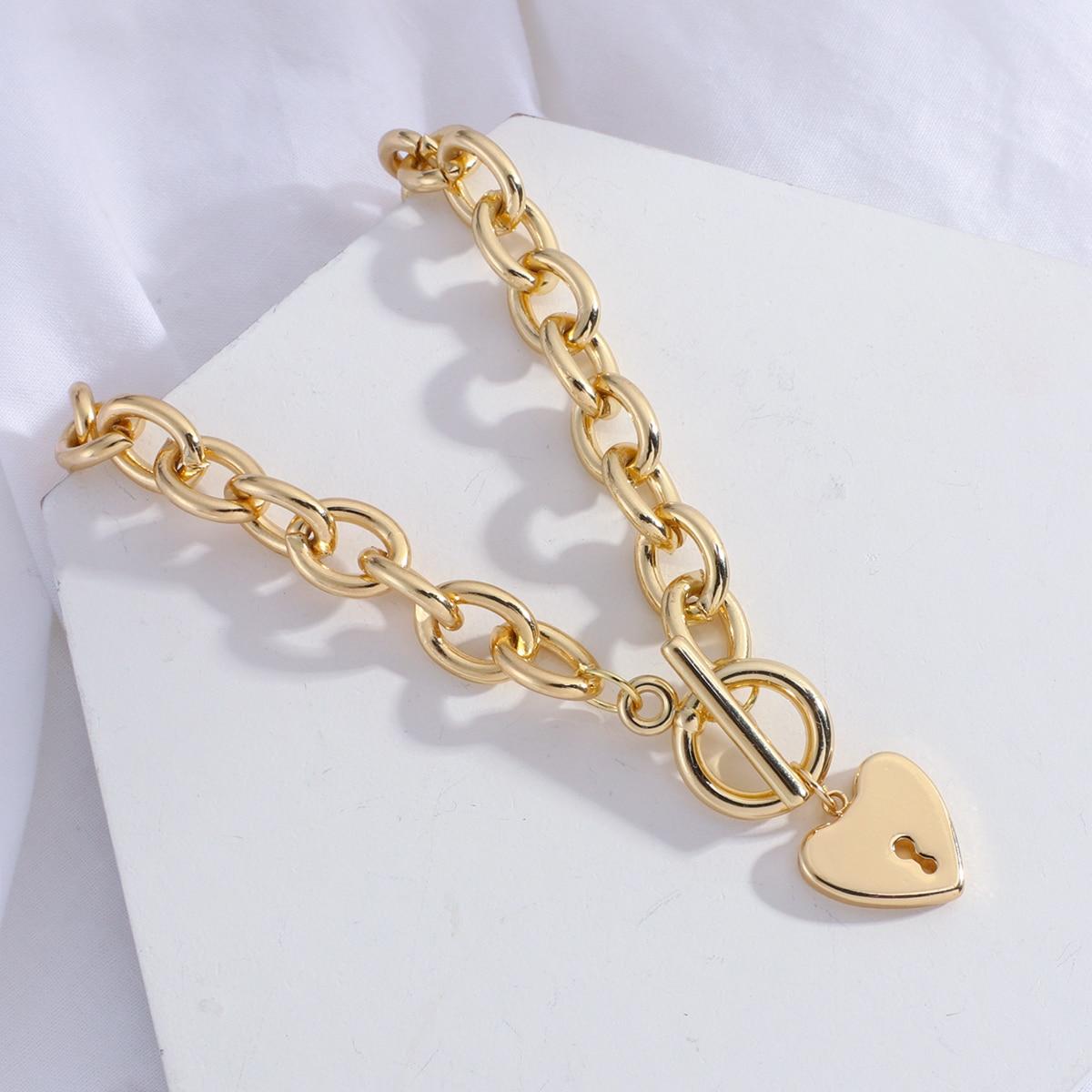 Женское Ожерелье-чокер AENSOA, толстая цепочка золотого цвета с подвеской в форме сердца, минималистичное колье, Ювелирное Украшение
