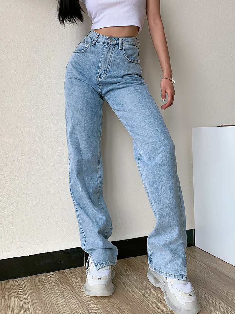 Winter Pants Trousers Leg-Jeans Washed Loose Split Slim High-Waist Straight Casual Fashion