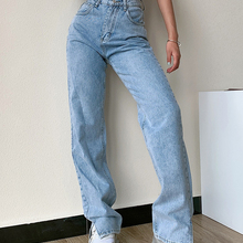 Winter Pants Trousers Leg-Jeans Loose Split Slim High-Waist Straight Fashion Women Washed