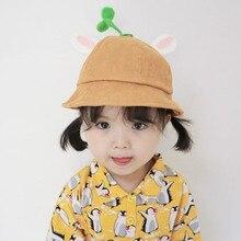 Осенне-зимние детские шапки для мальчиков и девочек, шляпы-ведерки с кроличьими ушками, Детские кепки, двухсторонние повседневные Шапки для рыбака