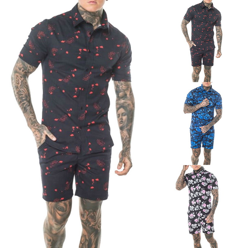 MoneRffi Summer Design Printed Overalls Mens Rompers 3D Flower Printed  Casual Short Jumpsuit Beach Sets One-piece Outfits