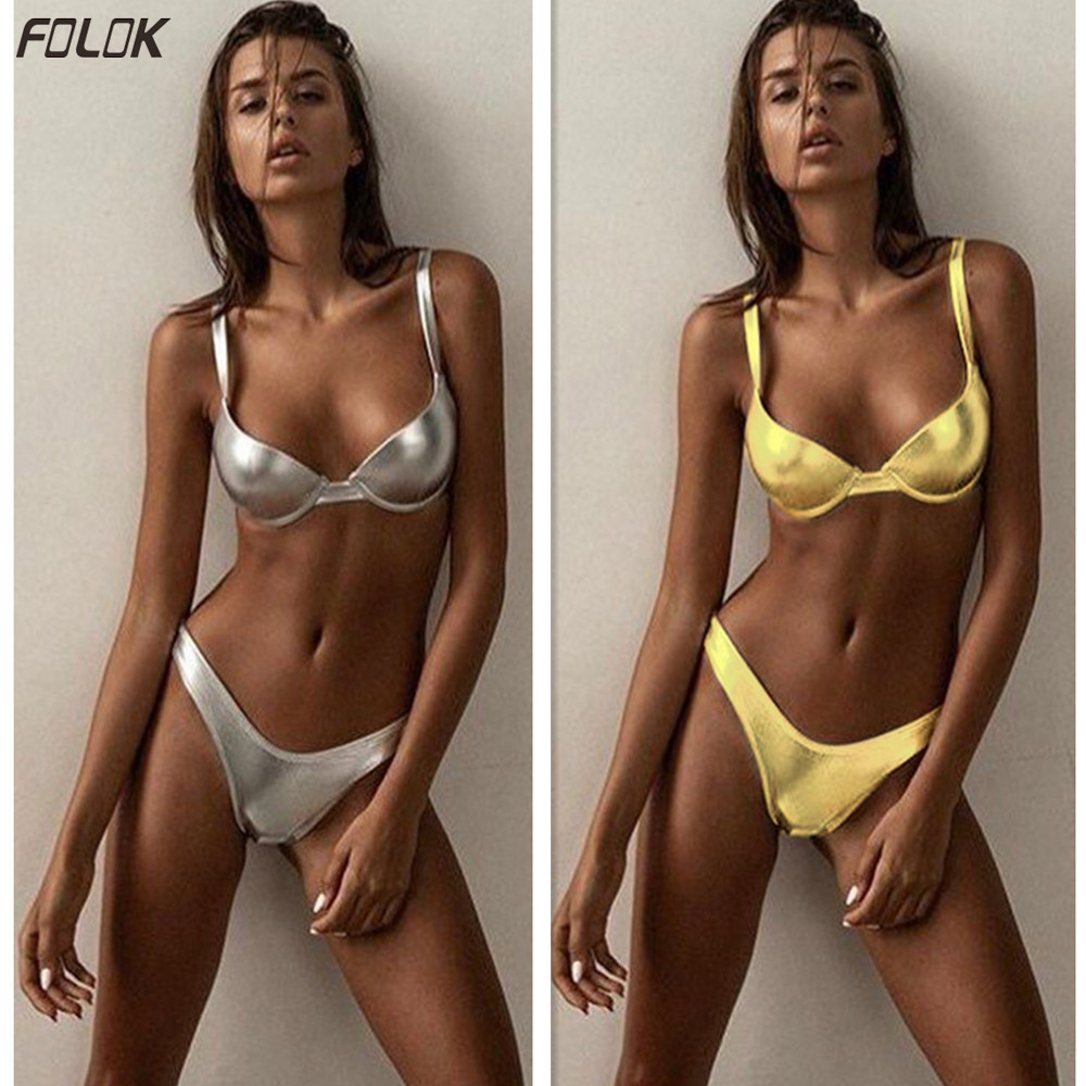 Gold And Silver Bikini 2020 Women Swimsuit Bathing Suit Swimming Suit High Quality Push Up Swimwear Tanga Bikini Low Waist