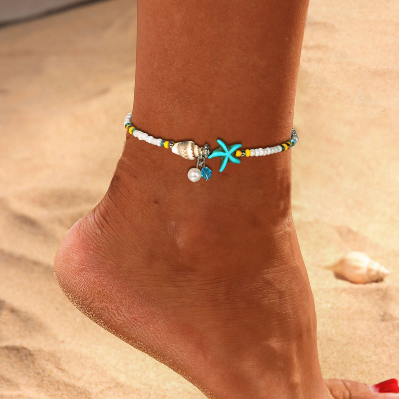 Boho Style Conch Starfish Beads Shell Pendant Anklets For Women Bohemian Style Beach Anklet Handmade Leg Bracelet Jewelry